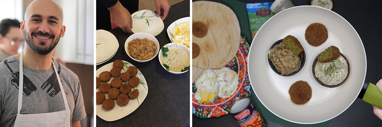 Typisches ägyptisches Frühstück: Falafel, libanesisches Fladenbrot mit Foul und Tahina-Sauce
