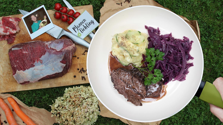 Thüringer Sauerbraten mit Rotkohl und Kartoffelstampf