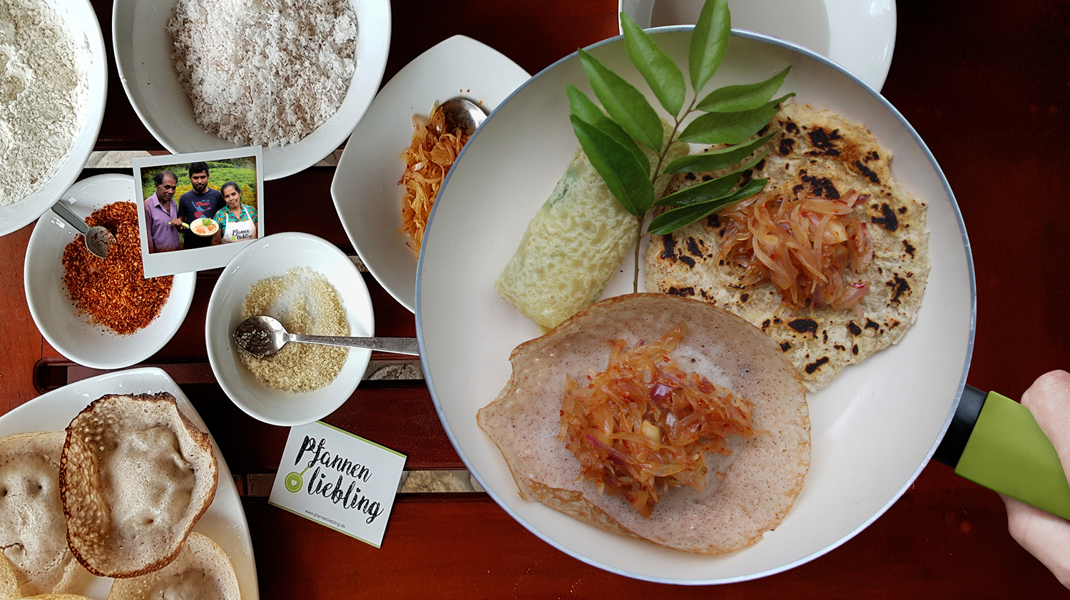 Hoppers und Coconut Rotti