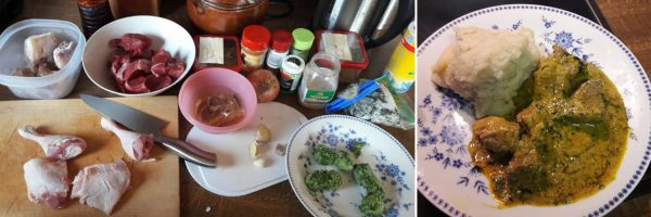 Egusi-Suppe mit Fufu