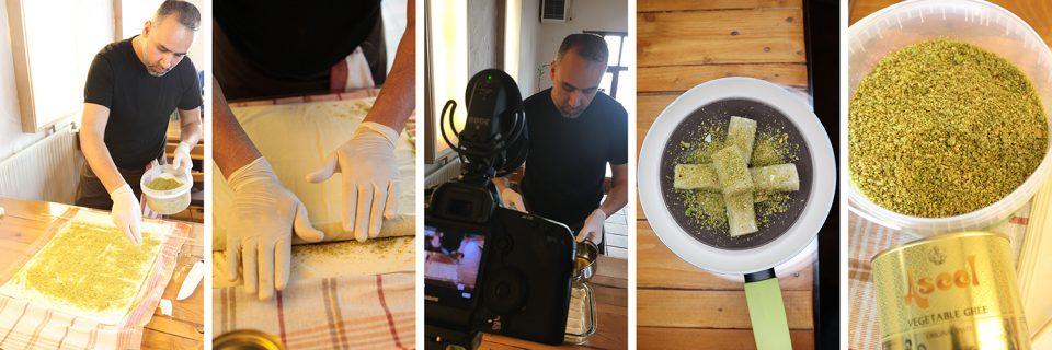 Baklava in der Herstellung